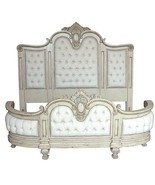 Magnificent French Country Handcarved  Tufted Linen King Parchment or br... - $5,449.00