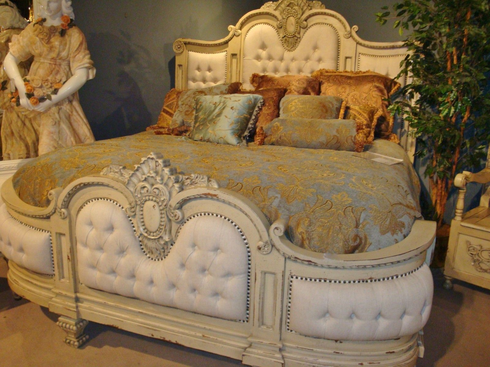 Magnificent French Country Handcarved Tufted Linen King