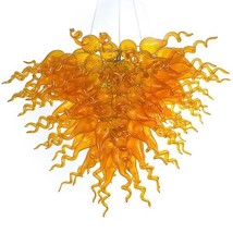 BEAUTIFUL LARGE MODERN AMBER BURST ART CHANDELIER,40'' DIAMETER X 67''H. - $1,349.00