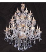 MAGNIFICENT LARGE FINE CRYSTAL GOLD REGAL CHANDELIER, 60''DIAMETER X 72''H. - $8,500.00