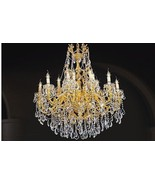 MAGNIFICENT LARGE FINE CRYSTAL GOLD REGAL CHANDELIER, 48''DIAMETER X 51''H. - $4,450.05