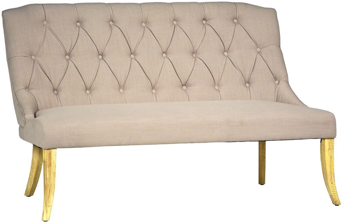 Fabulous Molly Natural Tufted Back Bench Settee 59 39 39 X 32 39 39 X 39 39 39 H Benches Stools