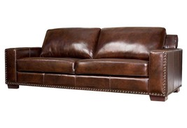 Awesome Artsome Chic Espresso Italian Leather Sofa/Couch,90'' X 40'' X 35''H. - $3,295.00