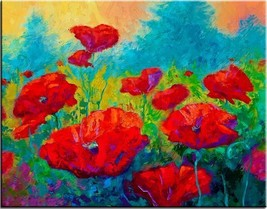"Red Poppies Print on Canvas Flower art Portrait Wall decor 28x36"" - $27.22"