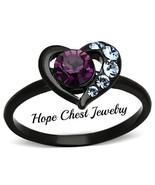 WOMEN'S BLACK STAINLESS STEEL AMETHYST CRYSTAL HEART SHAPE FASHION RING ... - $13.99