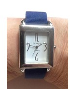 GENEVA Silver Toned Multi-Band Watch Navy Ribbo... - $9.79