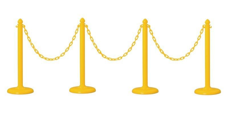 PLASTIC STANCHION 4 PCS SET + 32' CHAIN + CUSTOM HEIGHT, VIP CROWD CONTROL