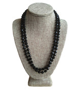 Vintage 2 Strand Black Jet Faceted Glass Bead Necklace Silver Rhinestone... - $19.00
