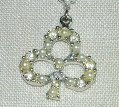 VTG Silver Tone Clear Rhinestone Faux Pearl Irish Clover Pendant Necklace - $19.80