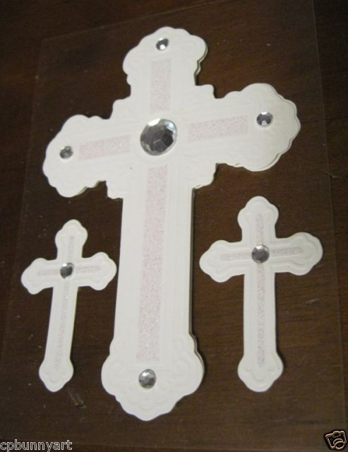 NEW Bejeweled Silver White Glitter 3 Cross Embosses Craft Stickers Scrapbooking!