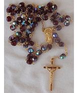 Purple crystal beads Rosary - $28.00