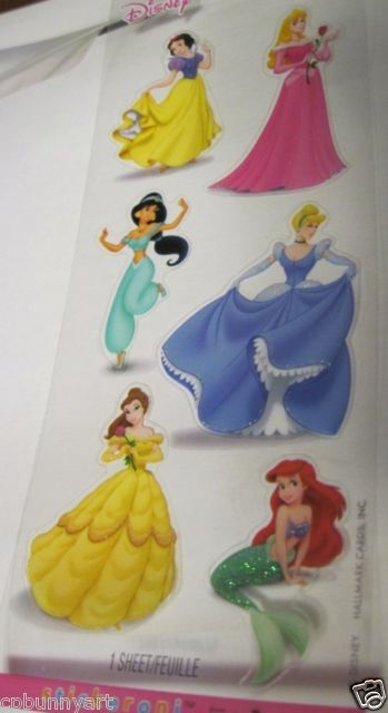 NEW Stickeroni Disney Princess Ariel Belle Jasmine Cinderella Glitter Stickers!!