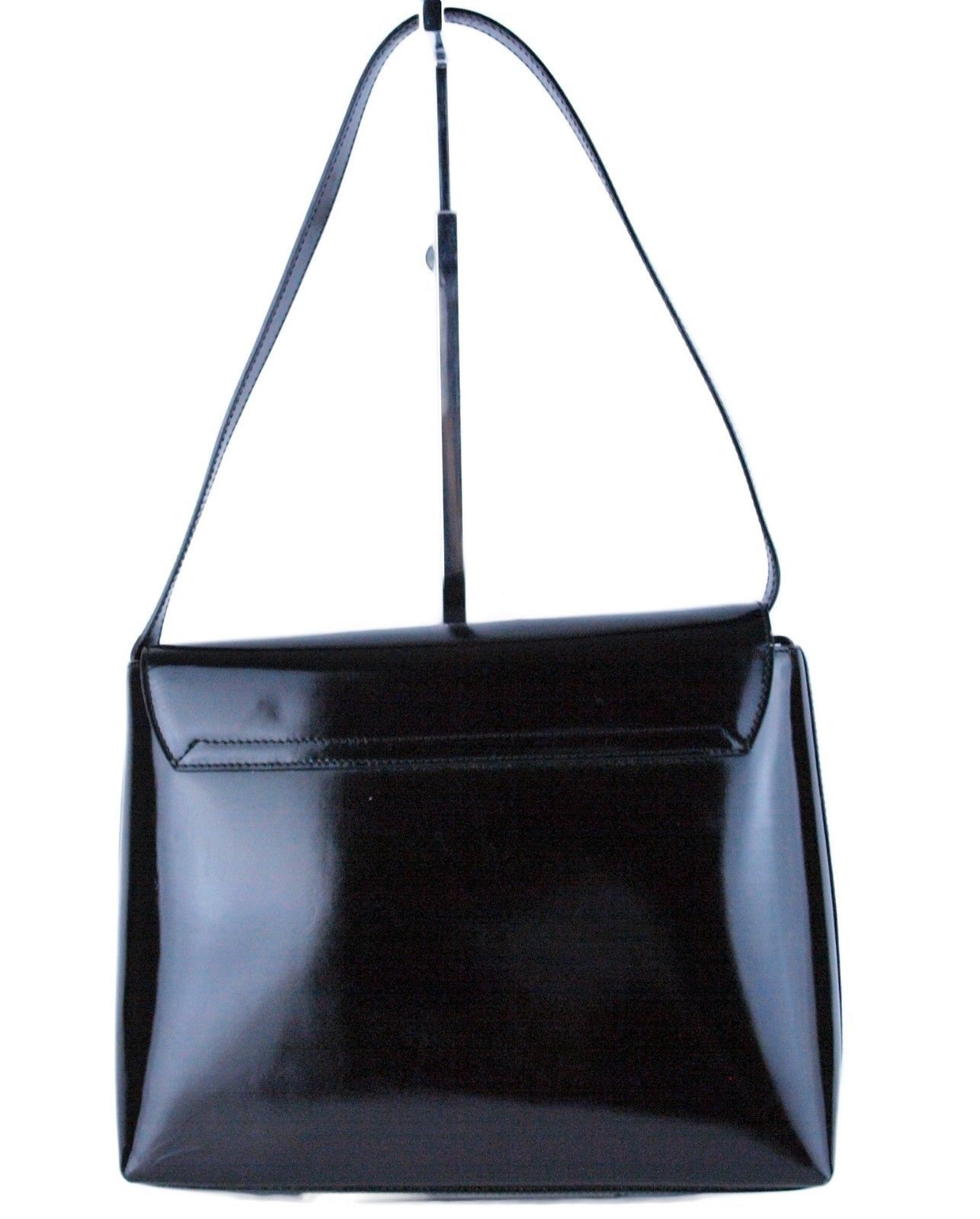 Auth GUCCI Logos Black Patent Leather Shoulder Bag Purse Italy 001.3444.1812