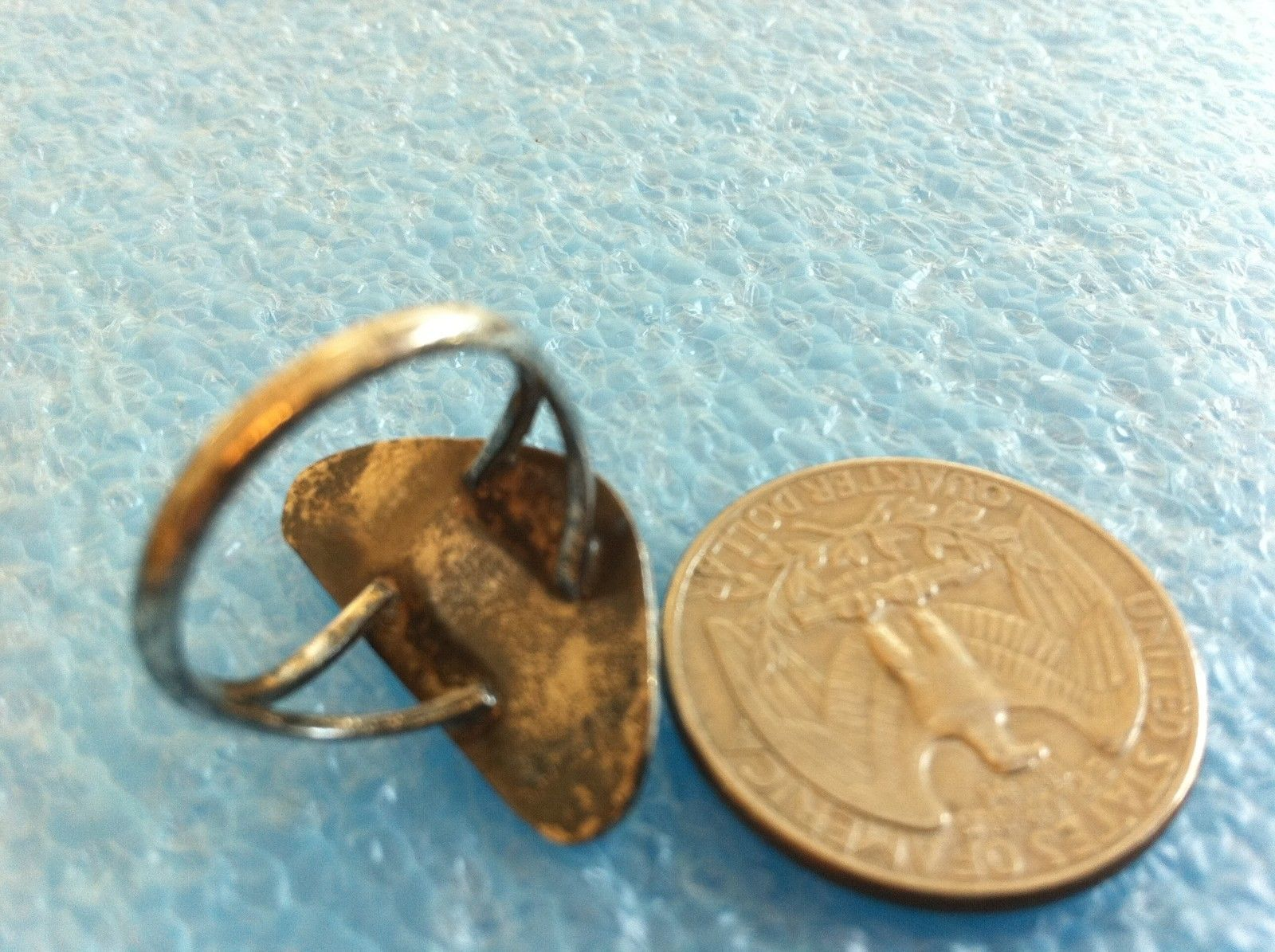VINTAGE SOUTHWESTERN STERLING SILVER TURQUOISE BEAR CLAW PAW RING sz 6