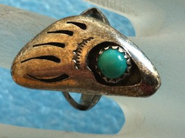VINTAGE SOUTHWESTERN STERLING SILVER TURQUOISE BEAR CLAW PAW RING sz 6 image 1