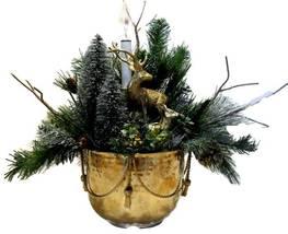 Christmas Arrangement with Vintage Brass Reindeer & Container  - $49.50