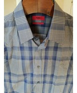 XTRA Slim Fit Hugo Boss MEDIUM Luxury Shirt Blue Tan 100% Cotton Men's Q... - $21.28