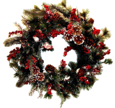 Christmas Wreath Frosted Red Berry & Pine Cones... - $39.00