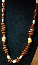 Vintage Bead and Seed Necklace w/ Painted Seeds - $9.00