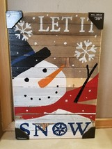 NEW Sweet Bird & Co Repurposed Wood Christmas Snowman Sign Let It Snow 1... - $29.99
