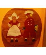 """OLD Primitive folk art Dutch Boy & Girl painting on wood board 10.5"""" x12... - $11.88"""