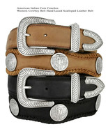 American Indian Coin Conchos Western Cowboy Hand Laced Scalloped Leather... - $44.95