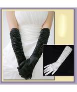 Long and Longer Ruched Satin Wedding Opera Full Finger Gloves in White o... - $32.95+