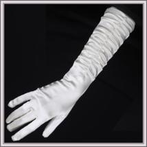 Long and Longer Ruched Satin Wedding Opera Full Finger Gloves in White or Black  image 2