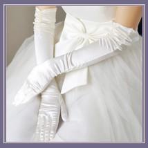 Long and Longer Ruched Satin Wedding Opera Full Finger Gloves in White or Black  image 3