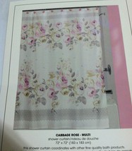 """Creative Bath Ivory French Country Fabric Shower Curtain Cabbage Rose 72""""X72"""" - $23.99"""