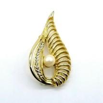 Goldtone Leaf Teardrop Ribbed Clear Rhinestone Faux Pearl Pin Brooch - $16.48