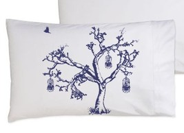 Two for 25 Bird Cage Navy Blue Oak Tree bedding pillowcase pillow cover ... - $24.99
