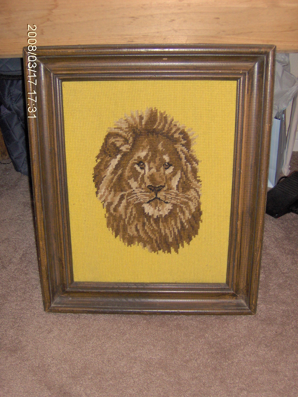 collectible framed needlework lion picture