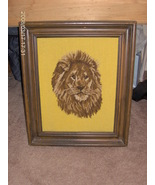 collectible framed needlework lion picture - $55.00