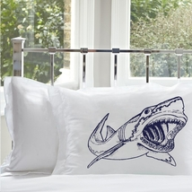Two for 25 Shark Pillowcase pillowcase cover teeth jaws tooth bull sharks - $24.99