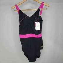 Speedo Sculpture Womens One Piece Swimsuit Black Pink Ruched Sleeveless ... - $41.57