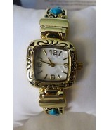 NEW Fashion Watch 6 Turquoise Stones Goldtone Filagree Expandable Cuff Band - $34.65