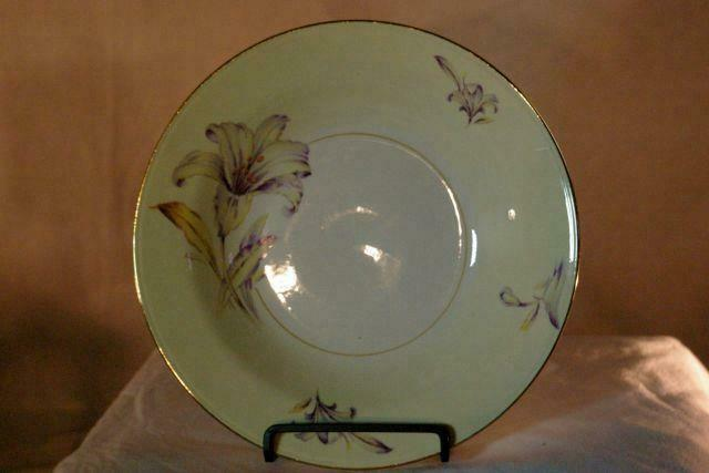 Homer Laughlin Creamy Yellow Band Purple Yellow Floral Rimmed Soup Bowl image 2