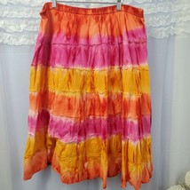 Dress Barn 14/16W Yellow Multicolor Long Maxi Skirt Tiered - $21.76