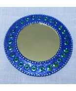 "Blue  Green 3"" Round Pocket Purse Mirror India ... - $5.00"