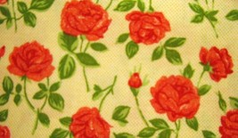 Quilt Gate MR 1202-12 Mary Rose Red Roses on Cream tone Cotton Fabric  - $8.95