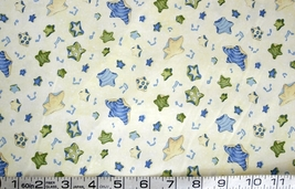1/2 yd music/blue notes/stars on pale yellow quilt fabric -free shipping