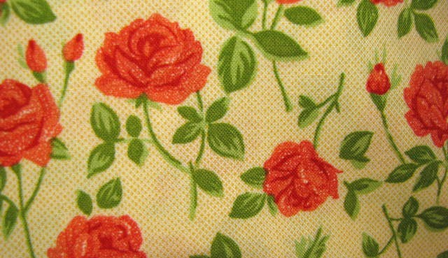 Quilt Gate MR 1202-12 Mary Rose Red Roses on Cream tone Cotton Fabric