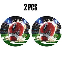 Football Car Coasters for Cup Holders Absorbent 2 Pack,Sport Theme Coast... - $8.43