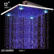 Cascada 12 Inch Square Rainfall LED Shower Head (4 Large Lights @ Corner... - $178.15