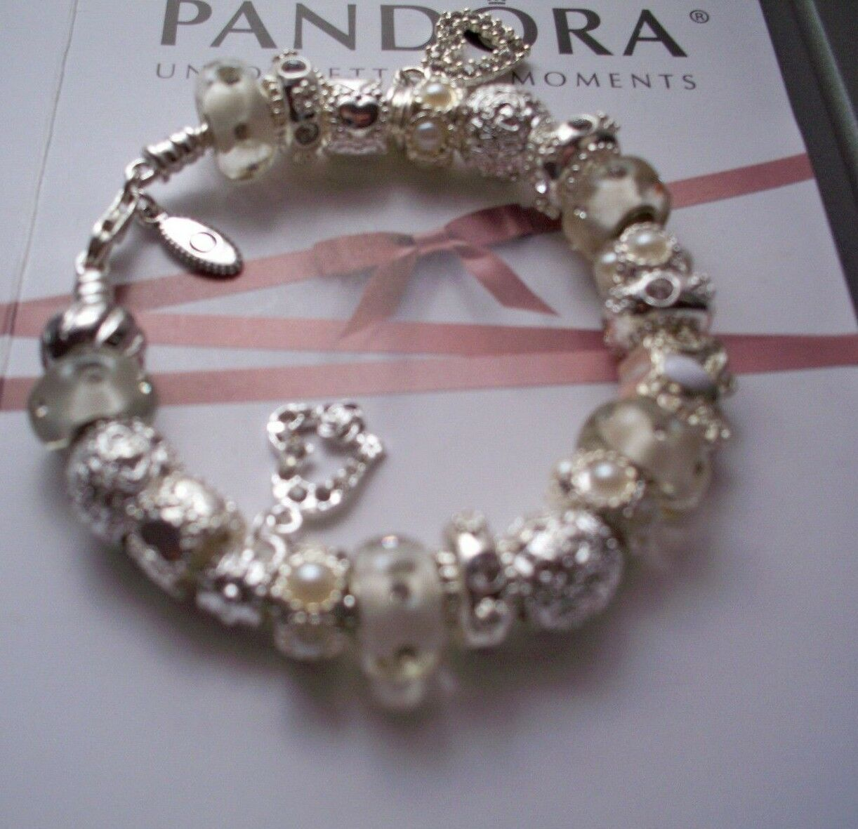 Authentic Pandora Sterling Silver Bracelet Hearts Butterfly Crystals White