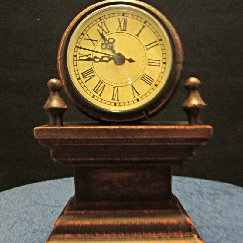 Small Vintage Style Mantle/Desk Clock Battery Powered, Brown and Wood & Glass