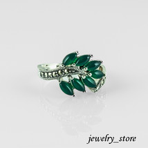 Sterling Silver Ring with Green Agate and Genuine Swiss Marcasite - $28.95