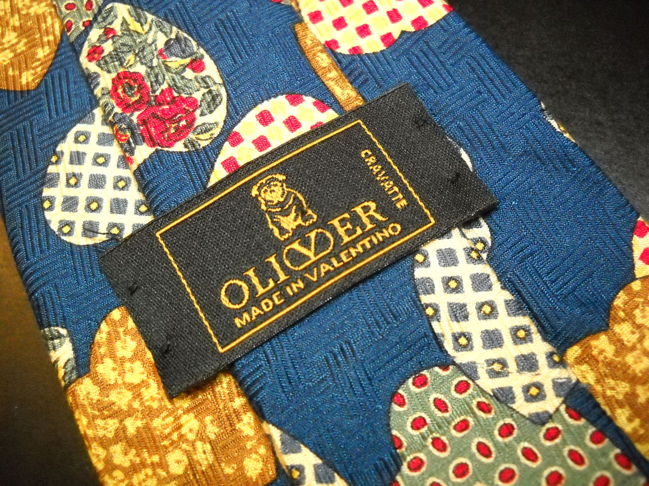 Oliver Made in Valentino Cravatte Neck Tie Blue Repeating Hearts Silk Italian