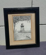Pen and Ink - Saugeen River Lighthouse - By John Geerts - Great Canadiana - $85.00